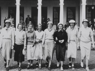 Babe Zaharias, Patty Berg, Alice Bauer, Maureen Bauer, Shirley Spork, Betty Bush, Betty McKinnon, Peggy Kirk Bell