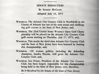 NJ State Resolution-1975 US Women's Open Proclaimation