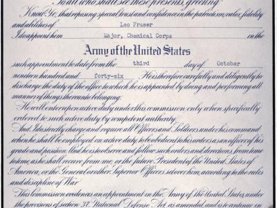 Major Leo Fraser military service honorable discharge papers