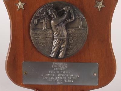 In Appreciation, Presented to Leo Fraser by the Gulf States Section of the PGA in 1969